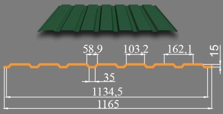Профнастил оцинкованный стеновой и фасадный С-10 С-15