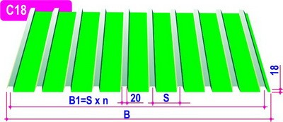 Профнастил ПР20 0,55 мм 1,1*1,5 м 8017