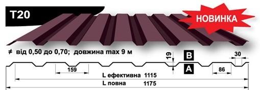 Профнастил «Прушиньски» Т20 0,45мм Zn