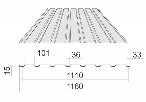 Профнастил ПС-15 с полимерным покрытием