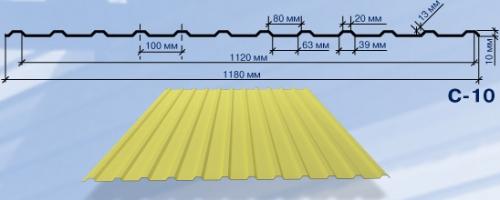 Профнастил С-10. Цинк 0,5 мм. Для стеновых и кровельных покрытий, заборов.