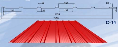 Профнастил С-14. Полиэстер 0,5 мм. Для стеновых и кровельных покрытий, заборов.
