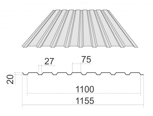 Профнастил С-20 с полимерным покрытием