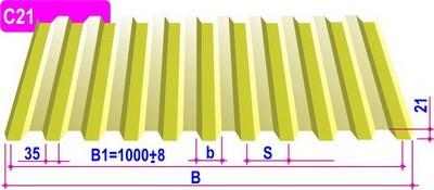 Профнастил С-8 0,5 мм 1,2*2,01 м 8017