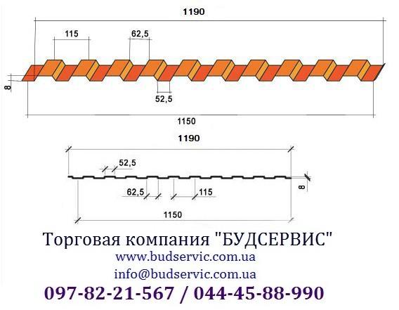 Профнастил стеновой ПС-8 0,45, Глянец, Украина (МиП) Уместен разумный торг!