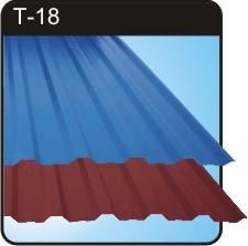 Профнастил Т-14, Т-18, Т-35. Используется для устройств и реконструкции кровель.