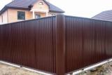 Профнастил тёмно-коричневый ПУ-20 от 500 м2 предназначен для кровли, стен, потолков заграждений. Порезка.
