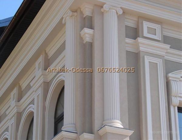 Производим колонны базы, капители из пенопласта с защитным покрытием для декорирования фасада Вашего здания.