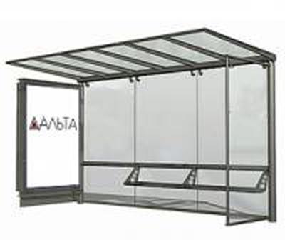 Прозрачная остановка с ситилайтом для ожидания общественного транспорта