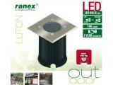 Грунтовой ландшафтный светодиодный светильник Ranex Luton с теплым светом, IP65, матовая сталь