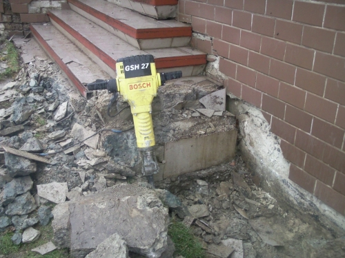 разрушение бетонных оснований, демонтаж железобетона
