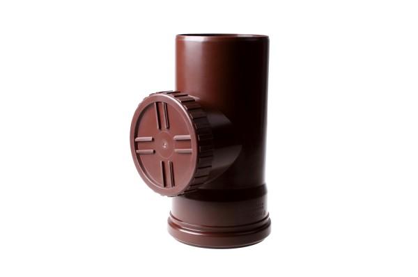 Ревизия без решетки водосточной системы PROFIL 130/100;коричневый, белый;диаметр 100 мм