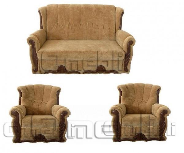 Роксана Комплект диван 2 нераскладных кресла ткань Финт карамель Код A101430