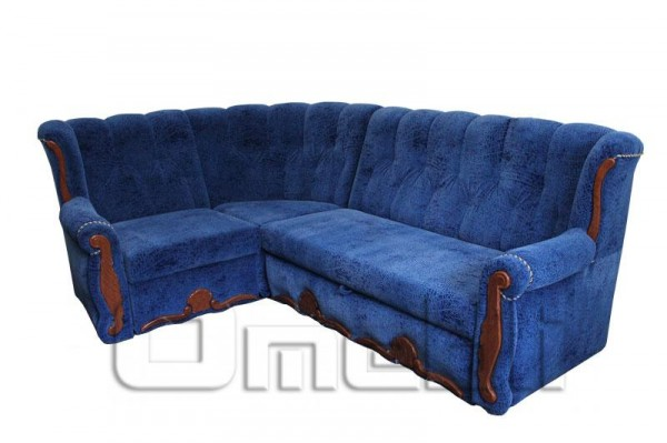 Роксана Угловой диван ткань Короед синий Код A101331