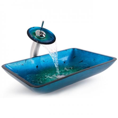 Роскошный голубой стеклянный умывальник