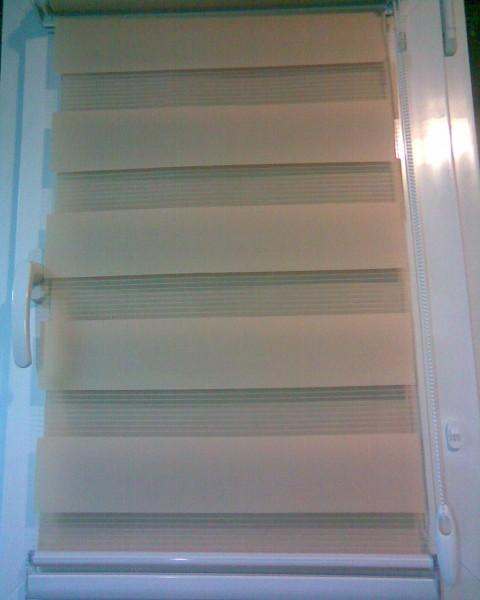 Рулонні штори системи :  СИЛУЕТ  у закритому стіновому коробі .