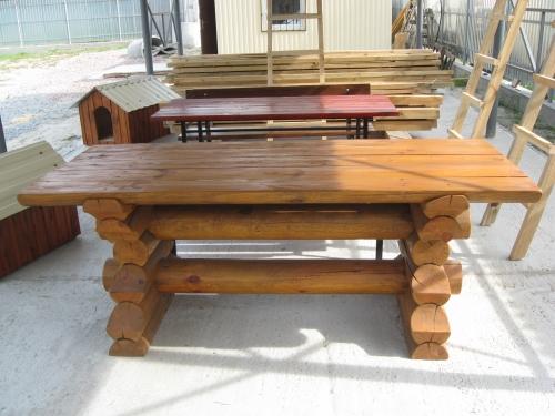 Садовая мебель изготовлена из оцилиндрованного бревна ели. Возможно изготовления по размерам заказчика.