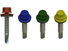 Саморезы оцинкованные с прокладкой и с цветной шляпкой по дереву 4,8х35мм, широкая цветовая гамма,8шт на квм