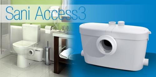 SANIACCESS 3 бесшумная модель для принудительной канализации для подключения унитаза, умывальника, душа и биде.