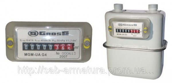 Счётчик газовый MGM-UA G4,0 лев/прав.