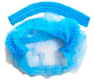 ШАПОЧКА НЕТКАННАЯ на резинке Шарлотта (белая, голубая) d = 21 см