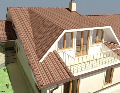 Дизайн фасада мансарды