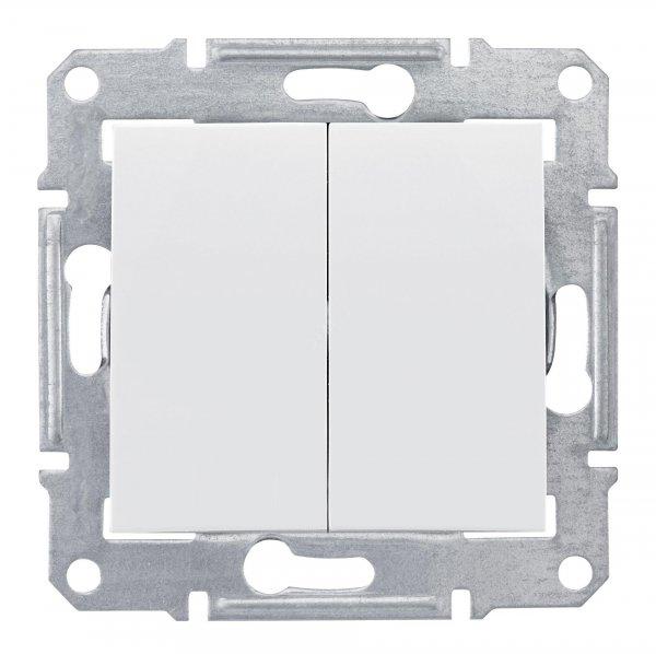 Фото  1 Выключатель двухклавишный Schneider Electric Sedna белый SDN0300121 1943887