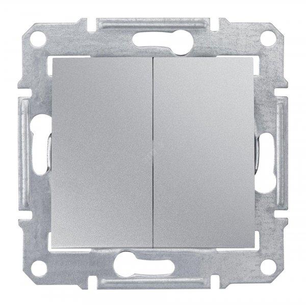 Фото  1 Выключатель двухклавишный Schneider Electric Sedna алюминий SDN0300160 1943889