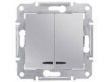 Фото  1 Выключатель 2-клавишный с подсветкой Schneider Electric Sedna алюминий SDN0300360 1943894