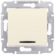 Фото  1 Выключатель 1-клавишный с подсветкой Schneider Electric Sedna сл.кость SDN1400123 1943923