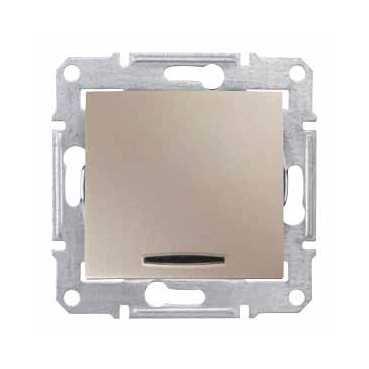 Фото  1 Выключатель 1-клавишный проходной с подсветкой Schneider Electric Sedna титан SDN1500168 1943930