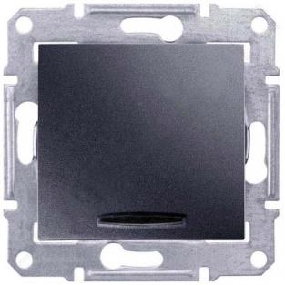 Фото  1 Выключатель 1-клавишный проходной с подсветкой Schneider Electric Sedna графит SDN1500170 1943931
