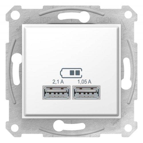 Фото  1 USB розетка 2,1A Schneider Electric Sedna белая SDN2710221 1943937