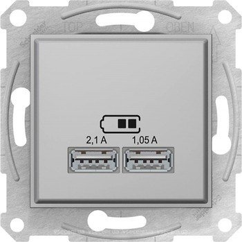 Фото  1 USB розетка 2,1A Schneider Electric Sedna алюминий SDN2710260 1943939