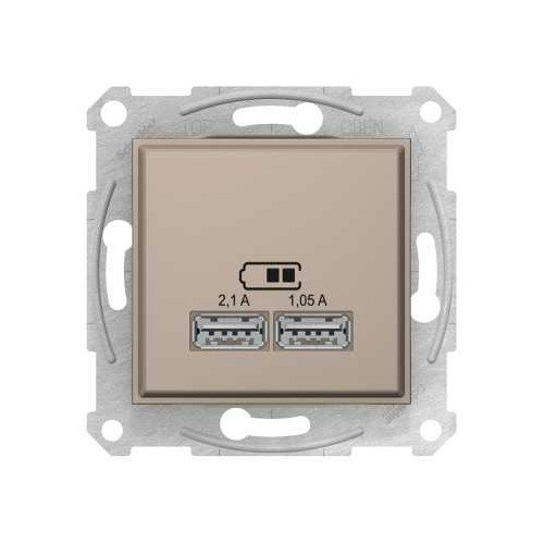 Фото  1 USB розетка 2,1A Schneider Electric Sedna титан SDN2710268 1943940