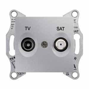 Фото  1 Розетка TV/SAT проходная Schneider Electric Sedna алюминий SDN3401960 1943972