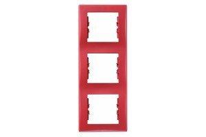 Фото  1 Рамка 3-постовая вертикальная Schneider Electric Sedna красная SDN5801341 1944060