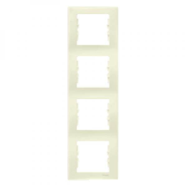 Фото  1 Рамка 4-постовая вертикальная Schneider Electric Sedna слоновая кость SDN5802023 1944072