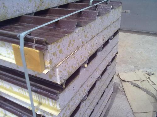 Сэндвич-панель крышная с двухсторонней облицовкой наполнитель пенополистирол с вкраплением ППУ 1ПТК 200-2х0,5-960 ППСУ