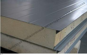 Сэндвич-панели из минеральной ваты:Панель стеновая с двухстор. облиц. МВ: 1ПТС 100-2х0,5-1190 .