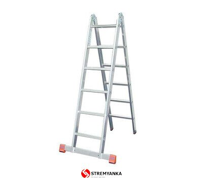 Фото  1 Шарнирная двухсекционная лестница KRAUSE TriMatic 2x6 ступеней 2234176