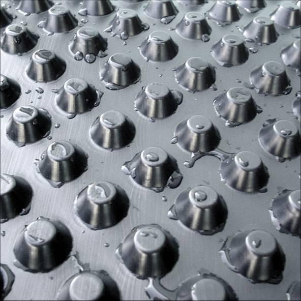 Шиповидная мембрана ТЕФОНД для защиты стен фундаментов, гидроизоляции, дренажа.