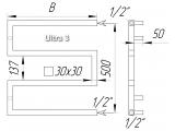 Фото  1 Широкий полотенцесушитель дизайнерський Ultra 3/600 з квадратної нержавіючої труби 30х30 мм. Україна 2396193