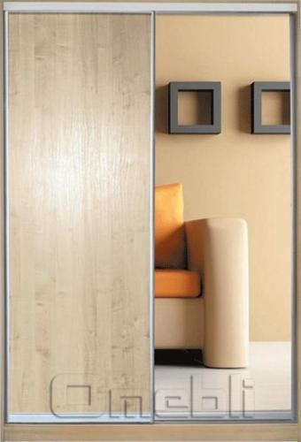 Шкаф-купе 2-х двер. №1, 100*45 б/ящ.  фасад 2/6 дуб+зеркало  корпус дуб молоч. A12508