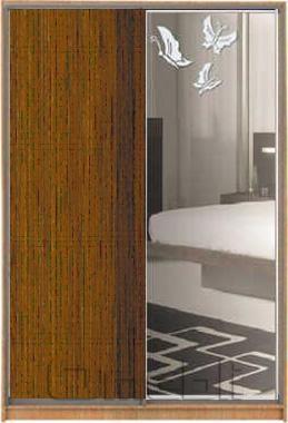 Шкаф-купе 2-х двер. №2, 100*45 б/ящ. фасад 56/40 орех бабочки корпус дуб молоч. A13504