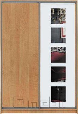 Шкаф-купе 2-х двер. №2, 100*45 б/ящ. фасад 58/5 ольха 5 квадратов корпус дуб молоч. A13510