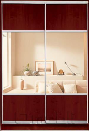 Шкаф-купе 2-х двер. №3, 100*45 б/ящ. фасад 12/12 яблоня зеркало корпус дуб молоч. A15884