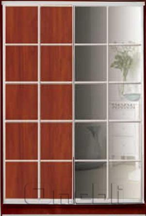 Шкаф-купе 2-х двер. №3, 100*45 б/ящ. фасад 15/16 зеркало яблоня корпус дуб молоч. A15902