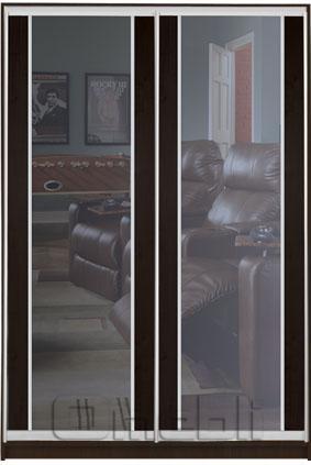 Шкаф-купе 2-х двер. №3, 100*45 б/ящ. фасад 31/31 венге зеркало корпус дуб молоч. A15944