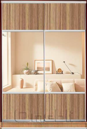 Шкаф-купе 2-х двер. №3, 100*45 б/ящ. фасад 36/36 зебрано зеркало корпус дуб молоч. A15956